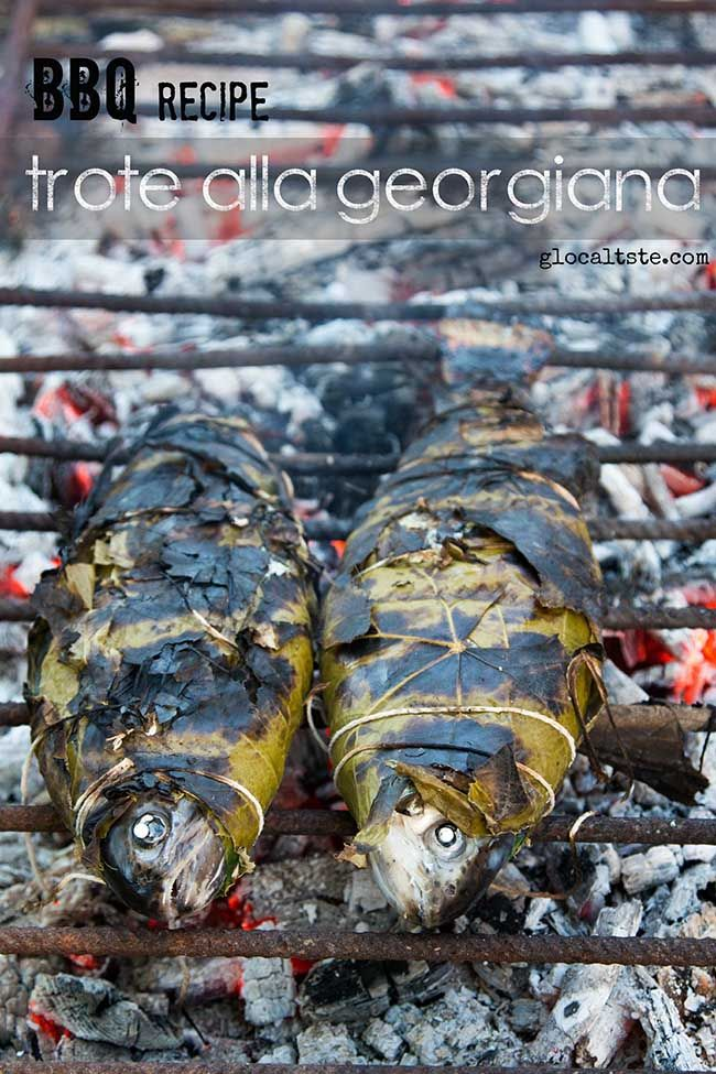 Georgian trout, grilled in grape leaves - Trota alla georgiana, grigliata in foglie di vite - Le ricette di GlocalTaste.com