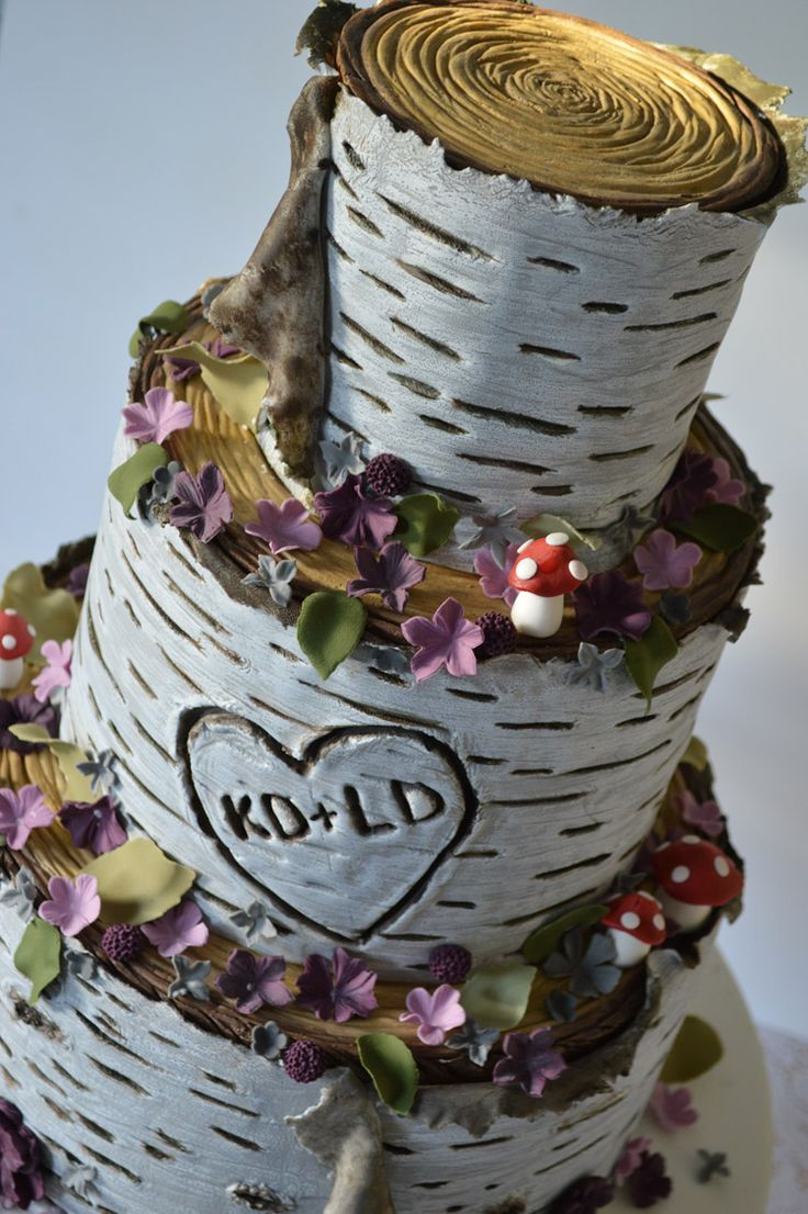 wedding cakes with birch trees  Google Search  Cake Decorating  Wedding cakes Birch wedding