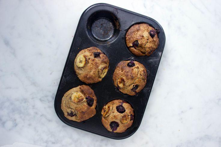 Vegan muffins met bosbessen en banaan