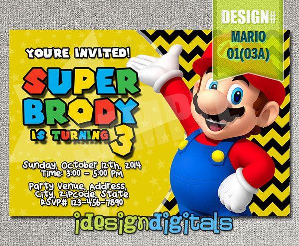 Mario brothers Invitations, Mario Brothers Birthday Party - chevron invite (6x4 or 7x5)