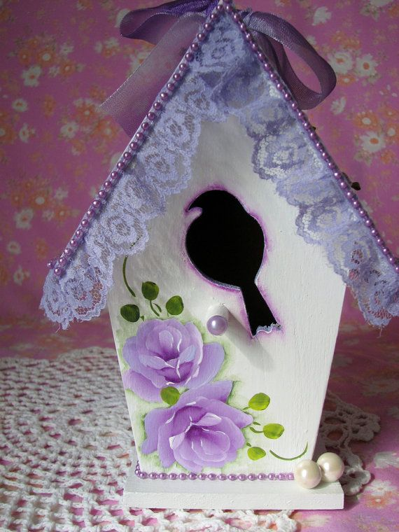 Victorian Birdhouse Hand Painted Lilac Roses by pinkrose1611, $28.00