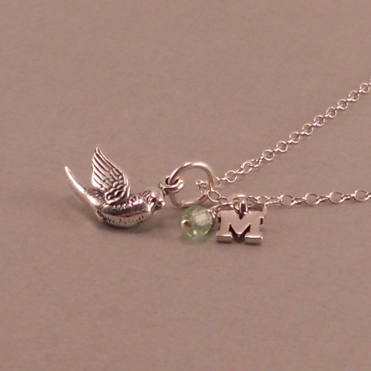 Dove Necklace, Sterling Silver, small bird charm, little girls birthday present, via etsy