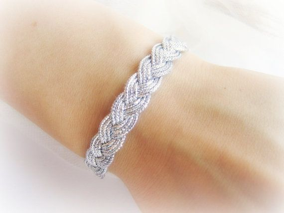 Braided bracelet silver tone french braided by MalinaCapricciosa