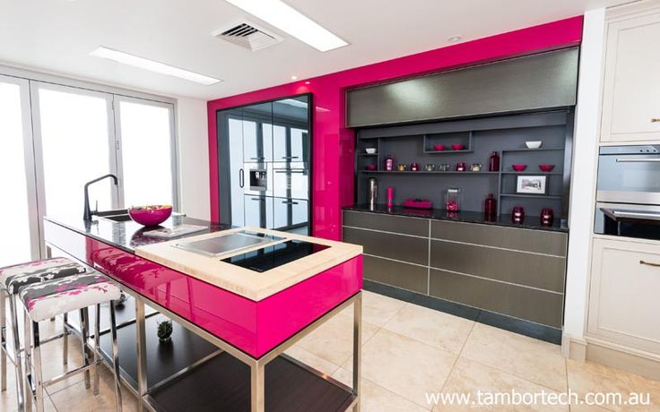 Beautiful kitchen design. Kitchen design idea - use a Tambortech Door to hide the mess, create more space and create a beautiful and functional kitchen.