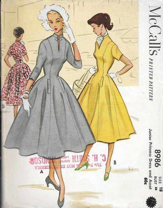 940f9c3b7d Vintage 1950s McCall s Sewing Pattern 8986- Misses  Princess Dress and  Ascot size 15 bust 33 uncut FF