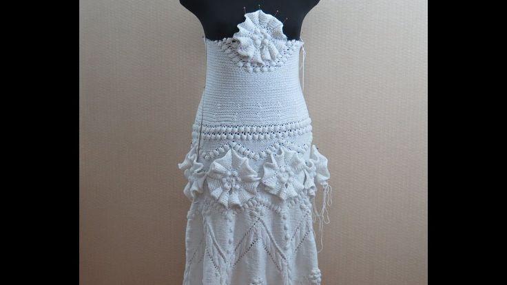 Вязание с Аленой Никифоровой. Платье с цветами - верх