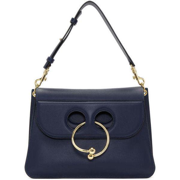 J.W. Anderson Navy Medium Pierce Bag ($1,580) ❤ liked on Polyvore featuring bags, handbags, shoulder bags, navy, j.w. anderson, white handbag, white shoulder bag, navy purse and shoulder bag purse