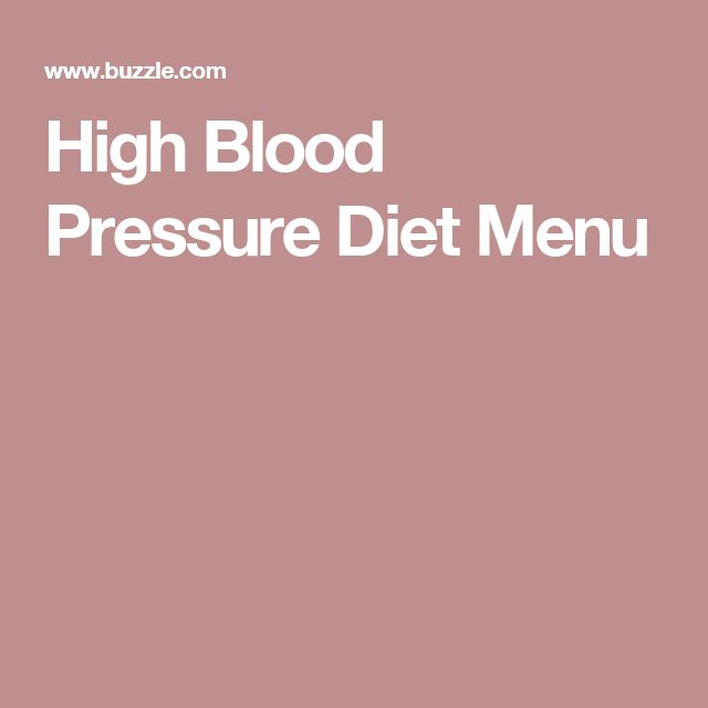 High Blood Pressure Diet Menu