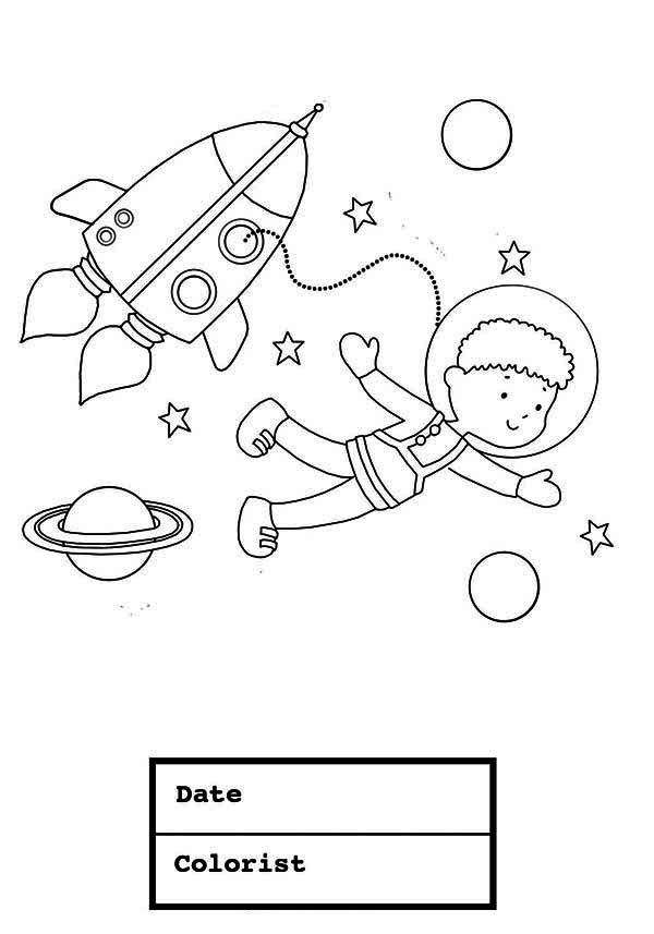 A Young Boy On The Astronaut Space Suit Coloring Page