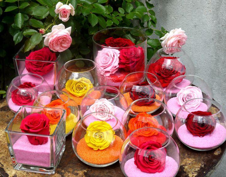roses stabilisées multicolore sur table extérieure
