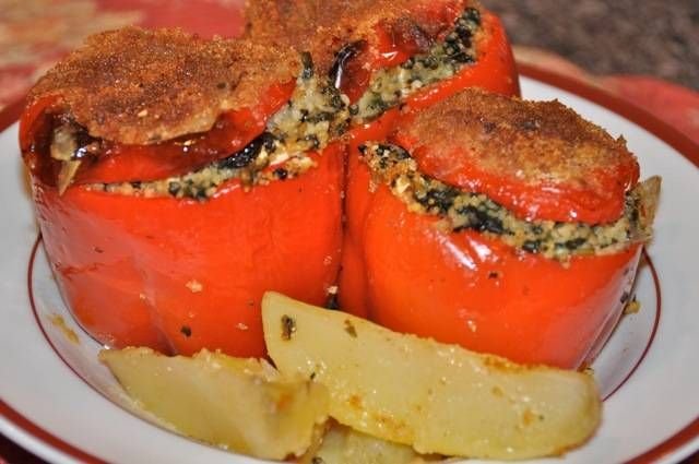 Stuffed Peppers with Couscous, Spinach, and Feta Cheese