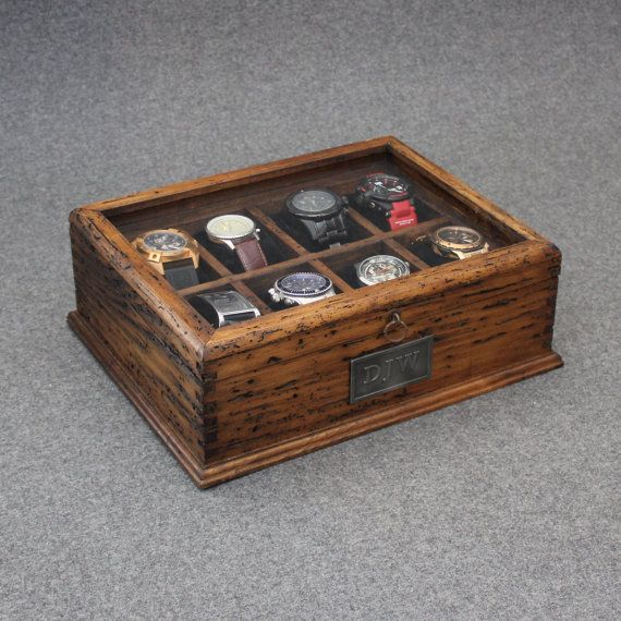 New Personalized Rustic Men's Watch Box for 8 watches with glass top and secret compartment on Etsy, $139.00