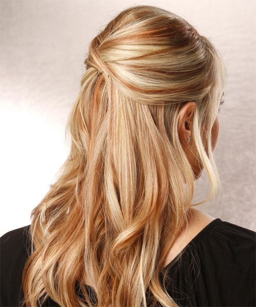 Blonde and Auburn Highlights | ... Up Long Straight Hairstyle - Medium Blonde - 12216 | TheHairStyler.com