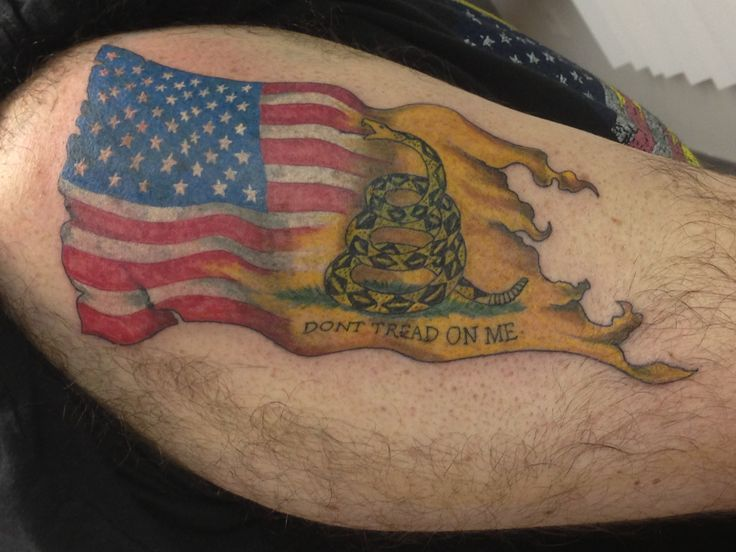 American flag fading into the don 39 t tread on me tattos for Tattoo pitture