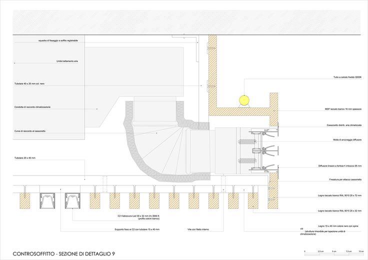 Dettaglio controsoffitto con AC + Illuminazione integrata (G. Pattenò - Agenzia Viaggi OVV)