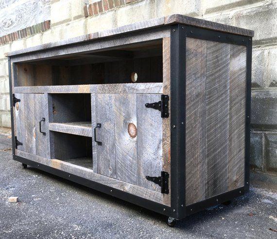 Rustic Industrial Weathered Barn Board Entertainment Center Tv Stand Reclaimed Wood 62 Grey Ameublement Industriel Vintage Meuble Aquarium Meuble Tv En Metal