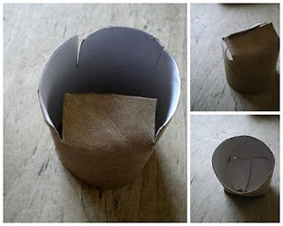 Starter pots recycled from toilet paper tubes!