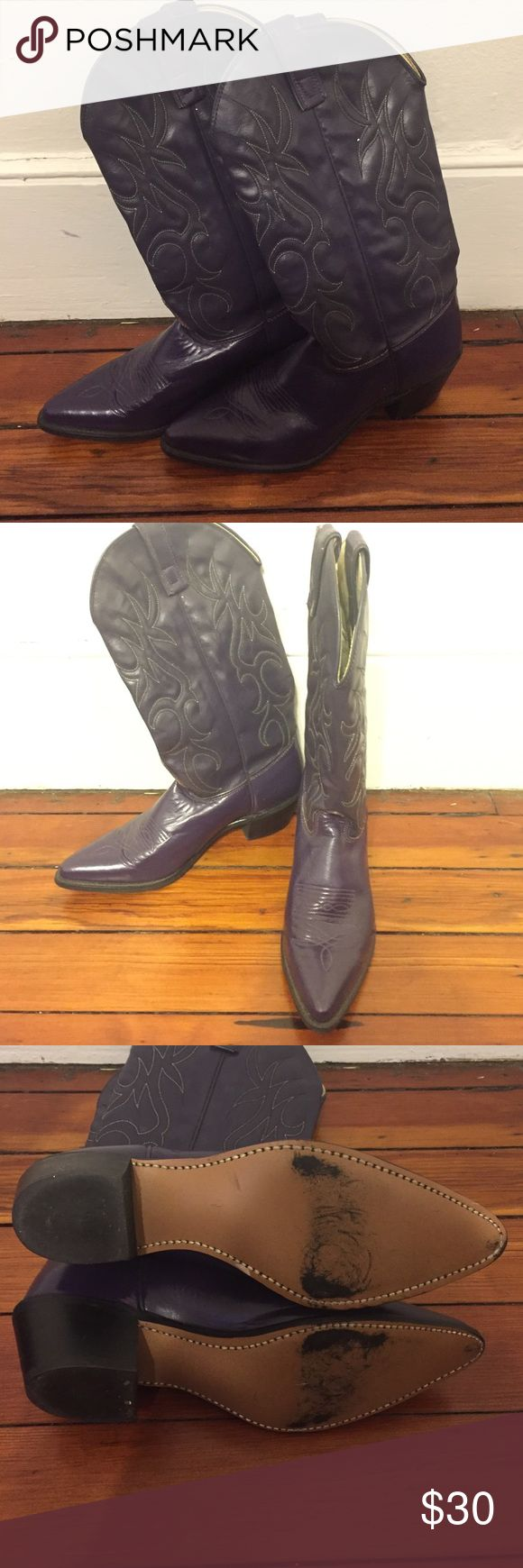 1980s Vintage Cowboy Boots Deep purple cowboy boots, size 8.5, but run very narrow. Gently worn, soles are barely scuffed. Small heel. Sheplers Shoes Heeled Boots