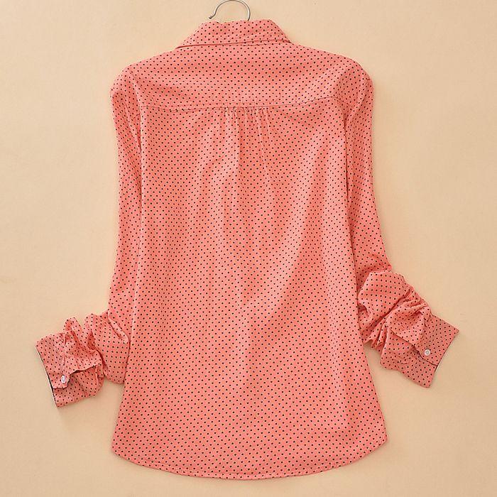 tops streetwear Blouse casual Clothes 2017 spring autumn fashion cotton sweet polkadot shirt turn down. Click visit to buy #Blouse #Shirt #BlouseShirt