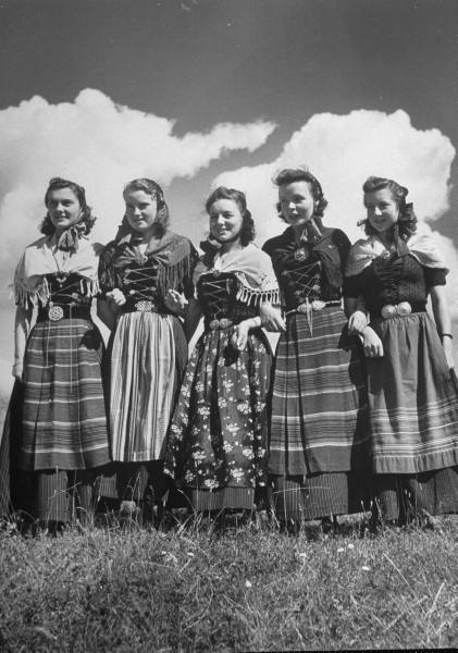 Faroe Island girls dressed in traditional costume, Stockholm, 1947.