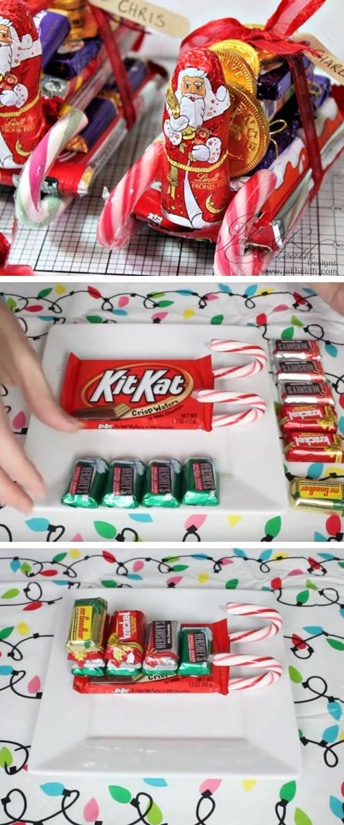 Christmas Candy Cane Sleigh | Click Pic for 22 DIY Christmas Gifts for Kids to Make | Handmade Christmas Gifts for Boys