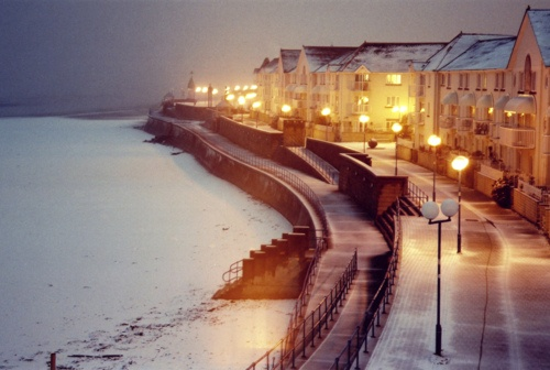 Swansea Bay looking very mysterious in the snow, Wales