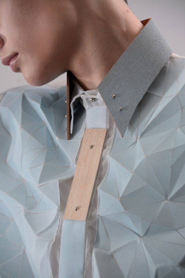 Faceted Shirt with wooden collar detail; innovative textiles; fabric manipulation; geometric fashion design // Yung Wong