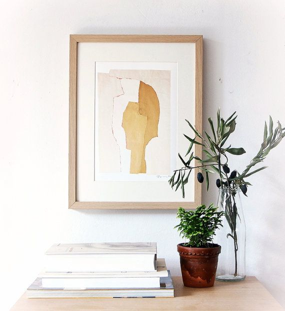 Very modern contemporary art print. Art reproduction of original fine art collage made with beige and white paper.  Can choose size from the drop-down
