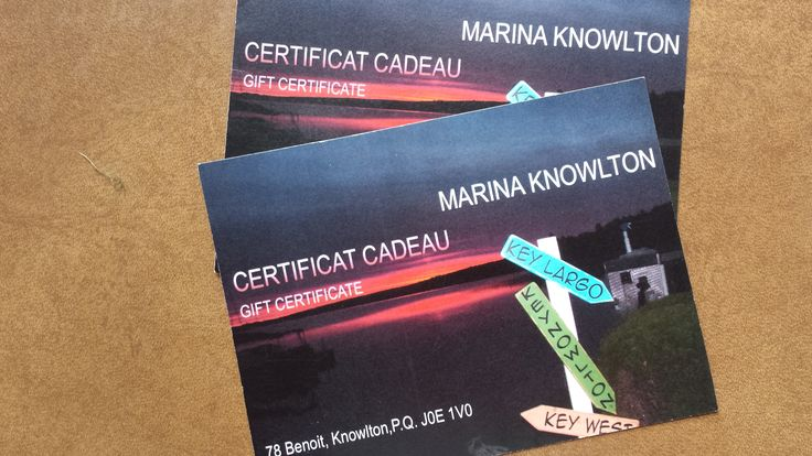 Marina Knowlton Gift Certificate for food & drink Courtesy of Marina Knowlton