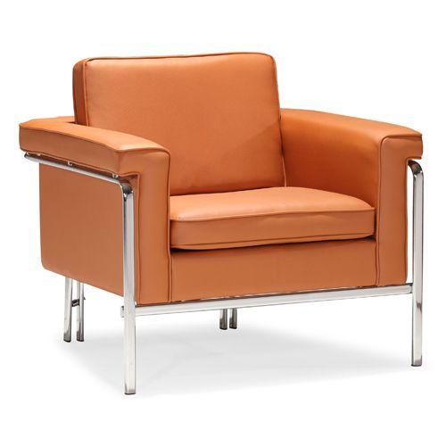 Singular Orange And Chromed Steel Arm Chair Zuo Modern Contemporary Glider Rocking Chairs