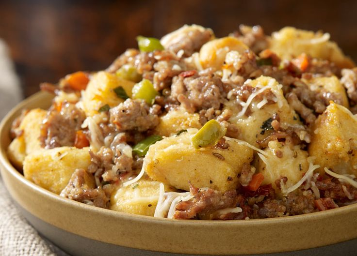 "Traditional Italian Sausage Stuffing - a @Johnsonville Signature Recipe: ""Add focaccia bread, olives, peppers, tomatoes, garlic, and basil to create a stuffing that's bursting with flavor...."""