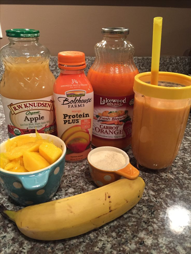 DIY Dupe for Bolthouse Farms Mango Protein Plus  1/2 banana 1 C. Fresh mango  1/2 C. Organic Apple Juice 1/2 C. Carrot & Orange juice 1/4 C. Vanilla whey protein   Add all ingredients to your magic bullet or blender and blend! Add protein powder to your magic bullet last so it doesn't stick to the bottom. I like to freeze my bananas for smoothies. You could also freeze the mango! This is a DELICIOUS smoothie - VERY close to the Bolthouse Farm version. Enjoy!