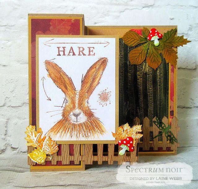 Dream Laine: Autumnal Hare!   #crafterscompanion  #spectrumnoir  #hare #wildlife  #pencil #watercolor  #autumn