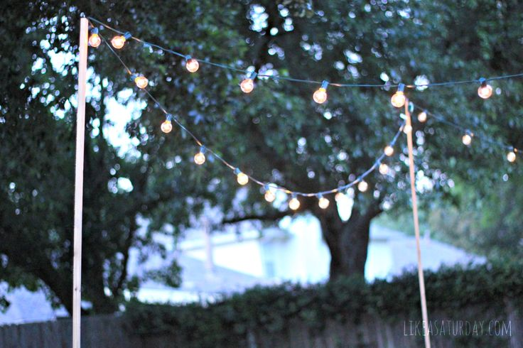 Ideas For Hanging String Lights Outdoors : 1000+ ideas about Patio String Lights on Pinterest String Lights, How To Hang and Diy Vanity ...
