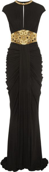 Alexander Mcqueen Embellished Stretch-Jersey Gown in Black - Lyst