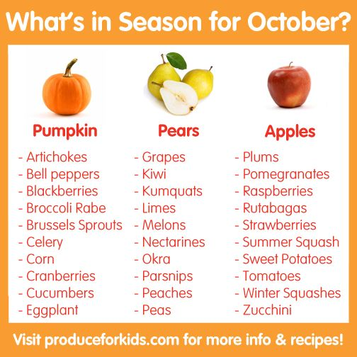 What's in Season for October? Check out this list for what fresh produce is in season, plus healthy seasonal recipes! @produceforkids