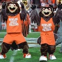The Bowling Green Falcons football team wears orange and brown jerseys and is led, interestingly enough, by a pair of Peregrine Falcons-mascots Freddie and Frieda.