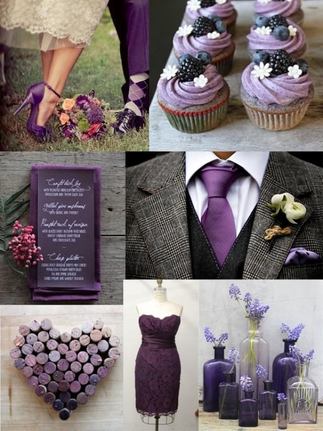 Purple and grey wedding. Very classy LOVE this shade of purple and the blackberries on the cupcakes!!