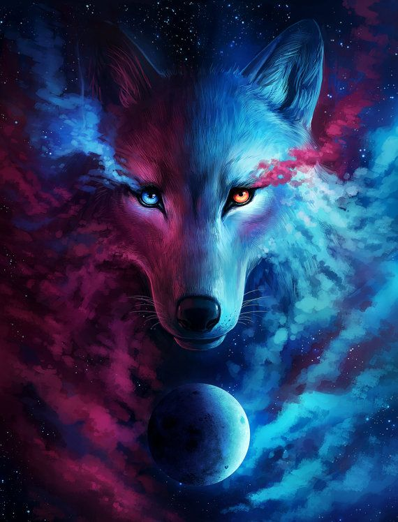 Where Light and Dark Meet – Signed Fine Art Giclee Print – Wall Decor – Fantasy Wolf Galaxy Painting by Jonas Jödicke