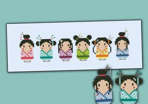 Cute little geishas chibi - PDF pattern by cloudsfactory