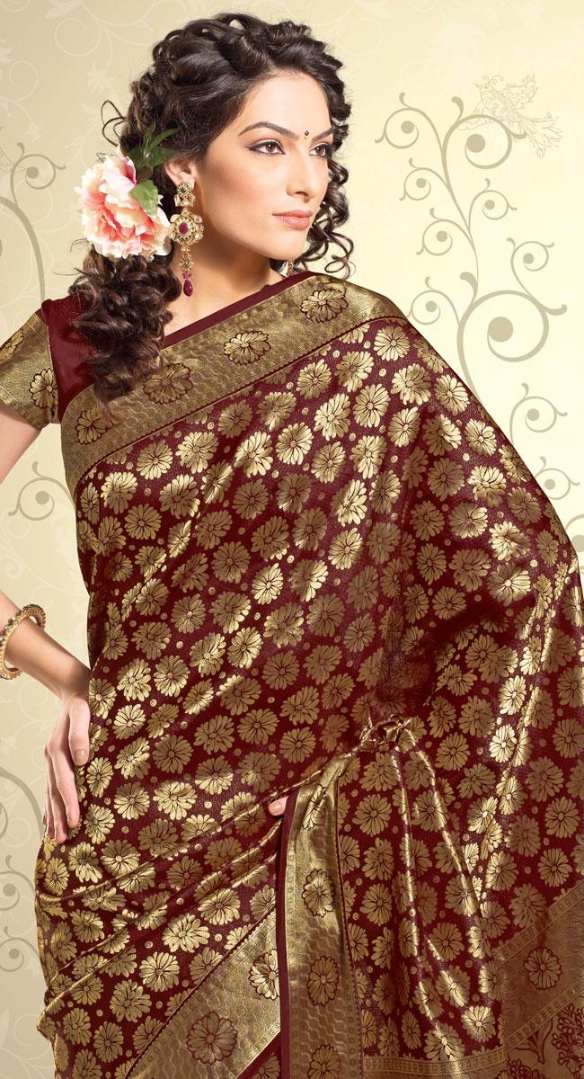 maroon silk saree!