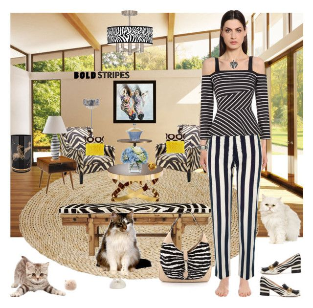 """""""Stripes Are Everywhere--Even In Nature!"""" by bevmardesigns ❤ liked on Polyvore featuring Yosemite Home Décor, Eichholtz, Arteriors, Pottery Barn, Diane James, V Rugs & Home, M. Kennedy Home, Alberta Ferretti, Gucci and NOVICA"""