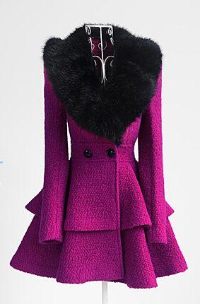 Fake Fur Embellished Long Sleeve Ruffle Coat    dresslily.com