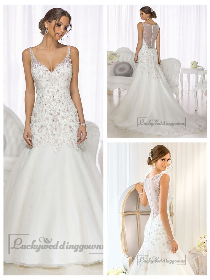 Mermaid Beaded Straps & Bodice V-neck Wedding Dresses with High Illusion Back http://www.ckdress.com/mermaid-beaded-straps-bodice-vneck-wedding-dresses-with-high-illusion-back-p-2006.html  #wedding #dresses #dress #Luckyweddinggown #Luckywedding #wed #clothing #gown #weddingdresses #dressesonline #dressonline #bridaldresses