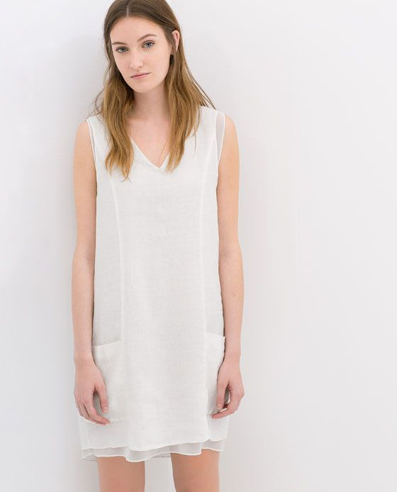 Image 2 of COMBINED LINEN DRESS from Zara
