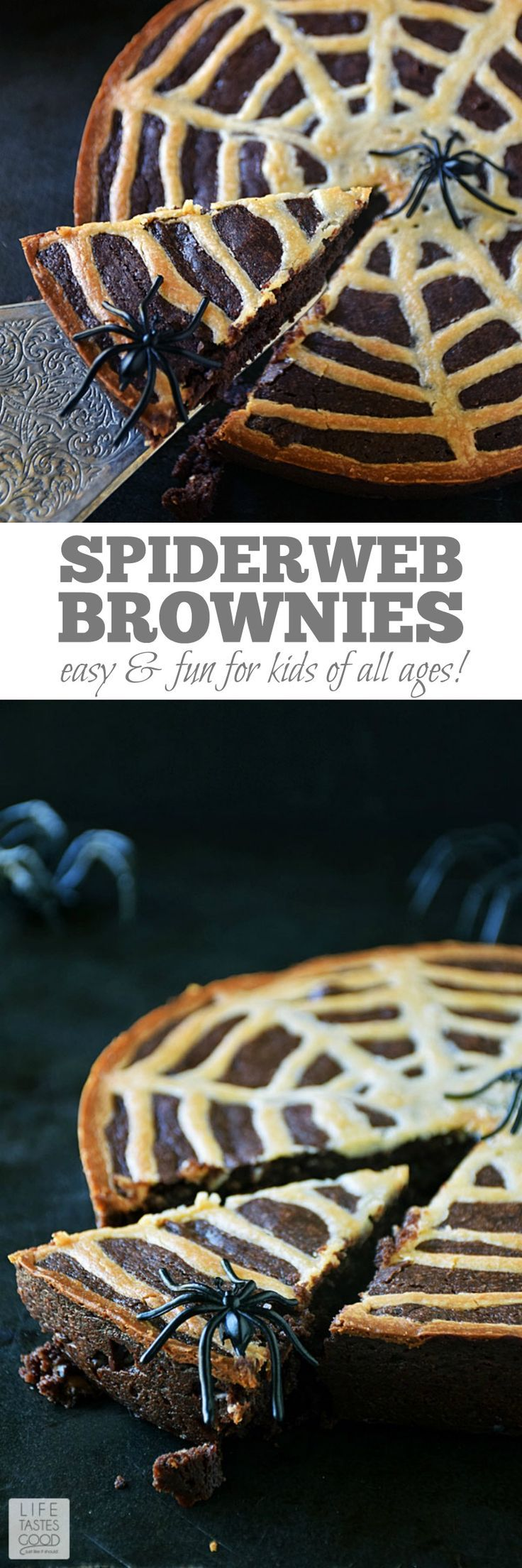 Spiderweb Brownies | by Life Tastes Good are a fun treat to celebrate Halloween. They are rich and chocolaty with a hint of tang from the cream cheese spiderweb on top, and these brownies are just the right amount of spooky to bring out the smiles. #LTGrecipes #HalloweenRecipes #DessertRecipes #ChocolateRecipes
