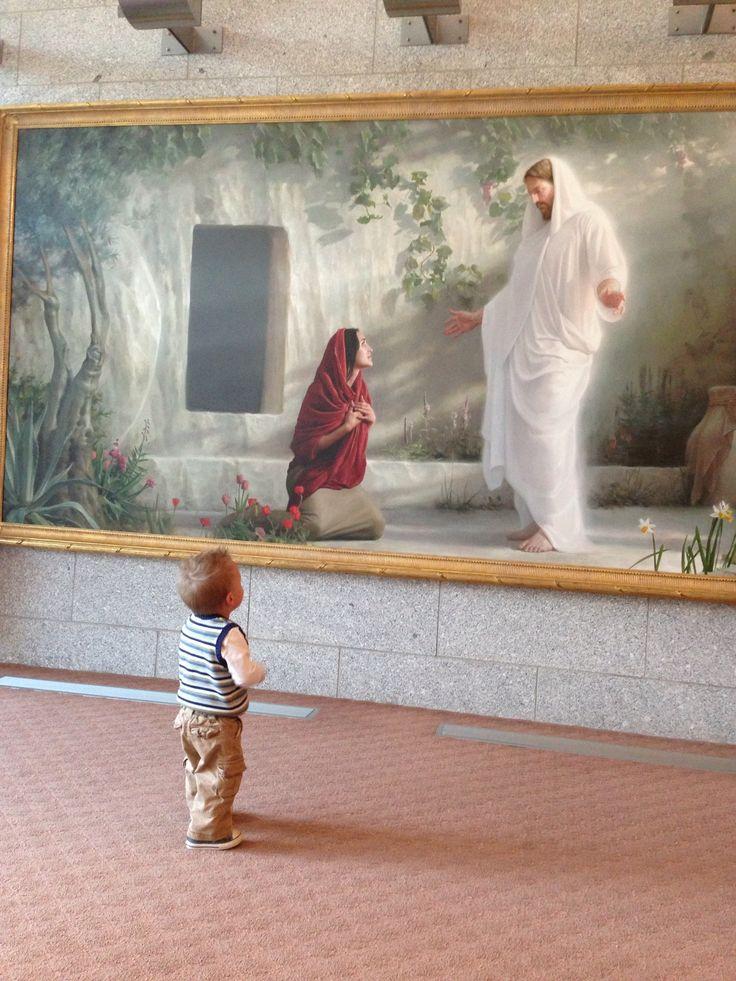My sweet little boy looking at Jesus. Salt lake lds temple Utah