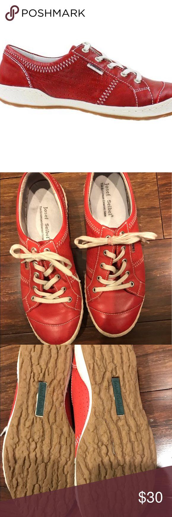Josef Seibel red sneaker Super cute and comfortable red leather sneaker. Josef Seibel Shoes Sneakers
