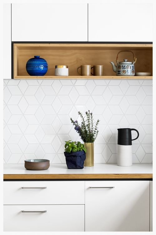kitchen tile backsplash, white with wood - don't like the handles