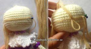 Как сделать волосы куколке амигуруми (8)
